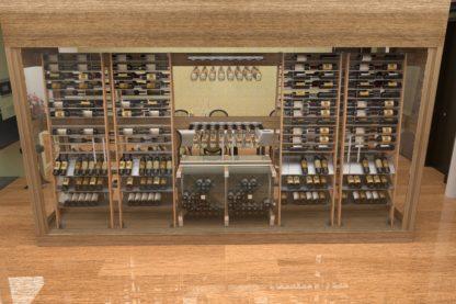 meuble à vin dans un cellier